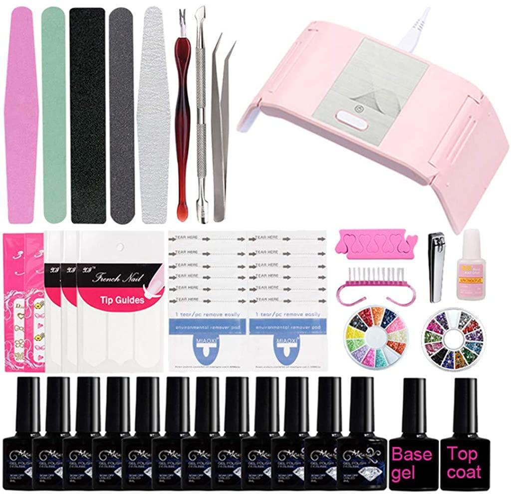 Gel Nail Polish Kit with 24W Nail Lamp, Home Gel Nail Polish Kit Nail Manicure Tools 12 Colors Gel Nail Polish Base and Top Coat Nail Glitter&Sticker Decor, Salon Tool/At Home for Beginner DIY