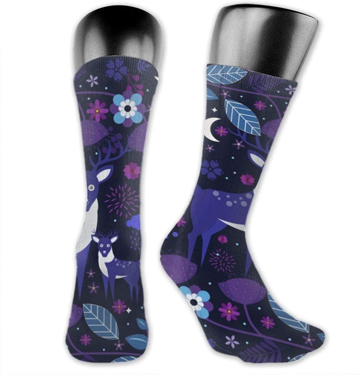 Wildlife Reindeer Flowers Unisex Outdoor Long Socks Sport Athletic Crew Socks Stockings