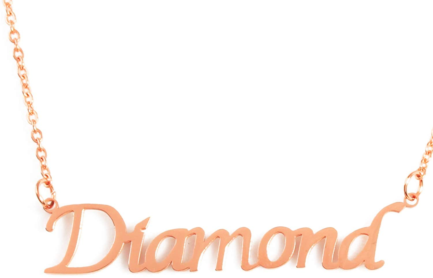 Zacria Diamond Custom Name Necklace Personalized - 18ct Rose Gold Plated