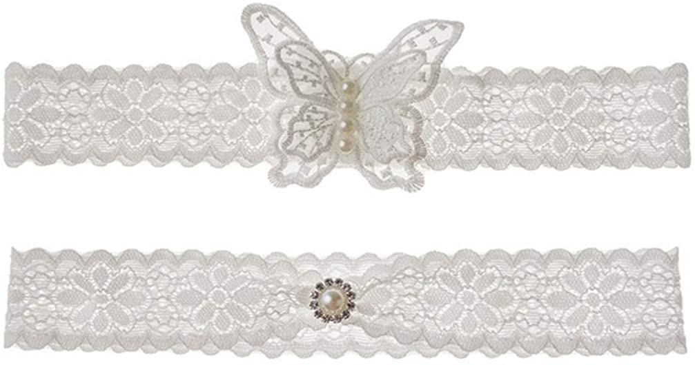 Holibanna Bridal Garters Stretch Lace Butterfly Elastic Crystal Pearl Leg Accessories for Wedding Woman (A Style)