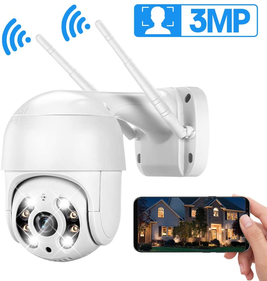 【AI】 PTZ Security Camera Outdoor, DEFEWAY 3MP Wireless Pan Tilt Zoom (4xDigital) IP Camera, 2 Way Audio, Color Night Vision, AI Human Detection, Light and Sound Alarms, Cloud Service/Microsd Support