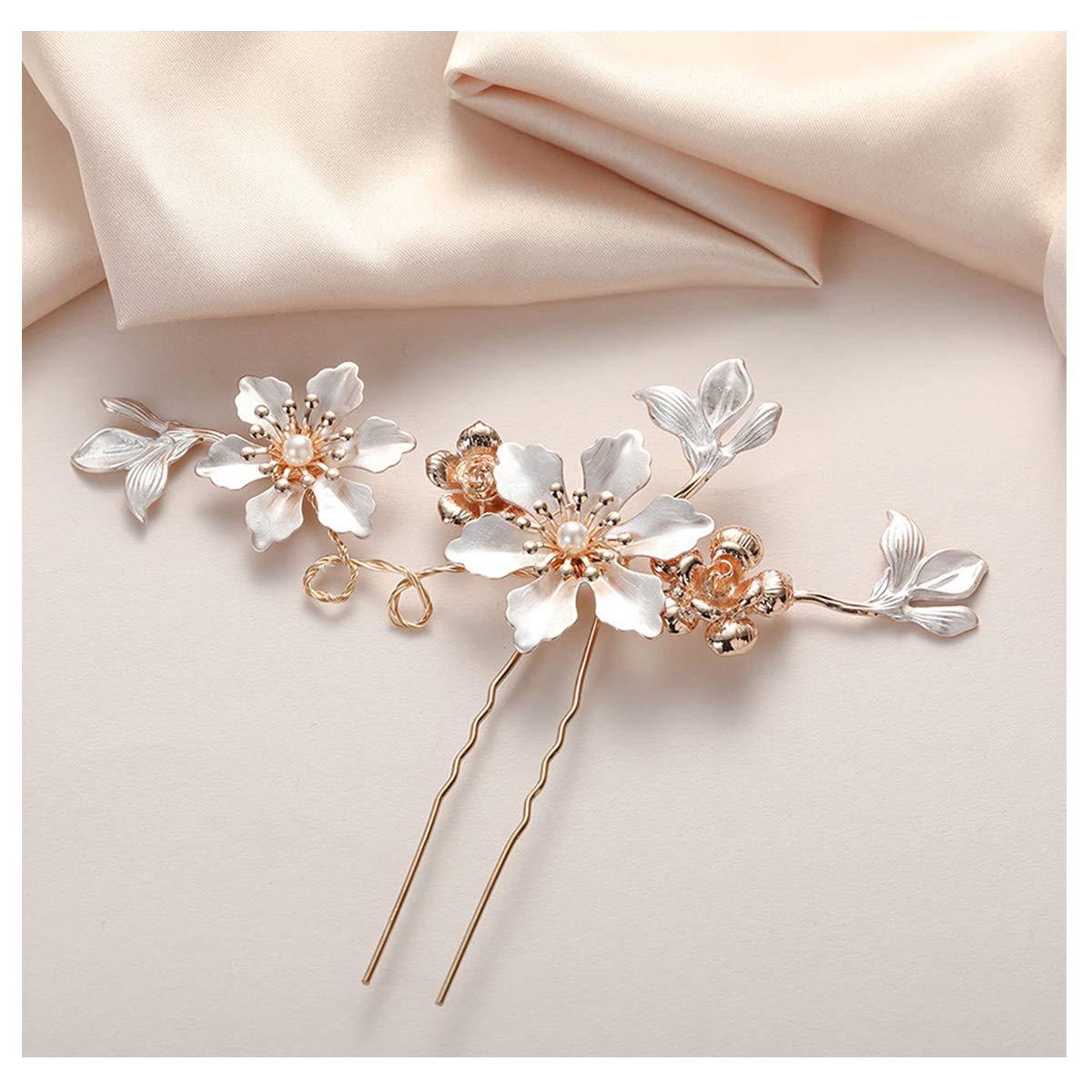 SWEETV Gold Wedding hair pin Handmade Bridal Hairpin Gold Wedding Hair Accessories for Brides