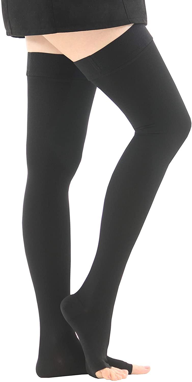 KOREA BEST BRAND_Rxtar TM 212 Compression Socks Women & Men Stockings Medical , 20-30mmHg Sturdy Thigh Open Toe , Graduated Sports Running Recovery Shin Splints Edema Varicose Veins Travel Nurses Pregnancy (Black, S)