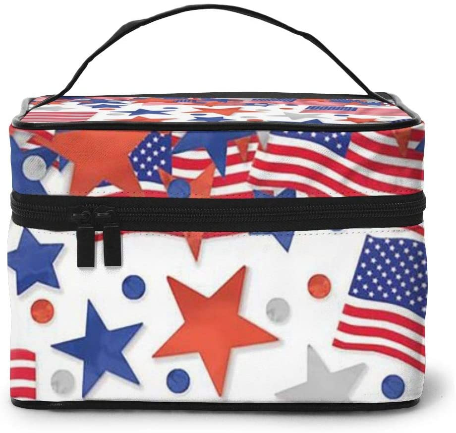 Large Cometic Travel Bag,American Flag Portable Travel Toiletry Bag Cosmetic Make Up Organizer For Women And Girls