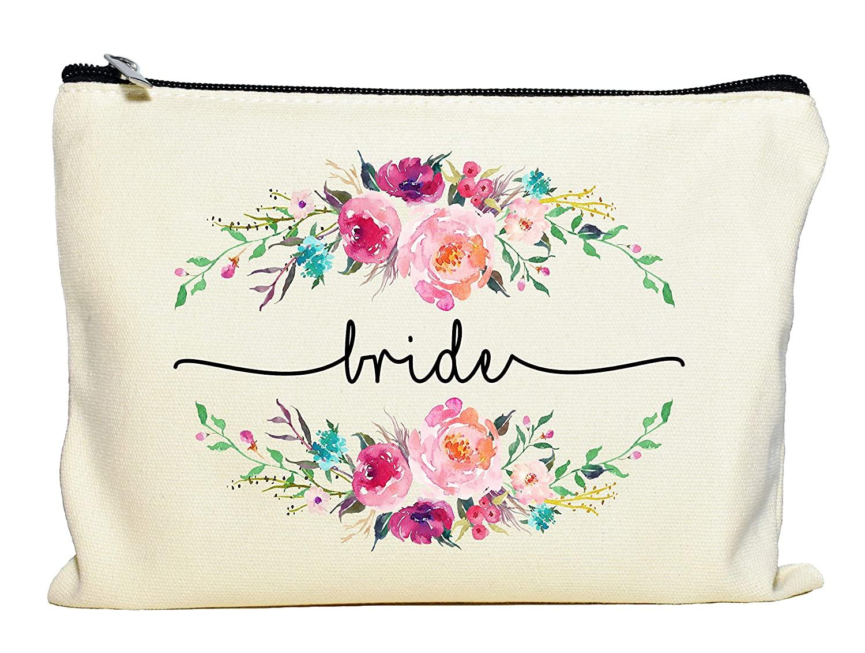 Bride Makeup Bag, Bride Gift, Bride Cosmetic Bag, Engagement Gift, Bride Makeup Zipper Pouch, Bridal Shower, Engagement Gift