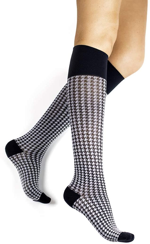 Rejuva 15-20 mmHg Graduated Compression Socks, Houndstooth Pattern, Men/Women