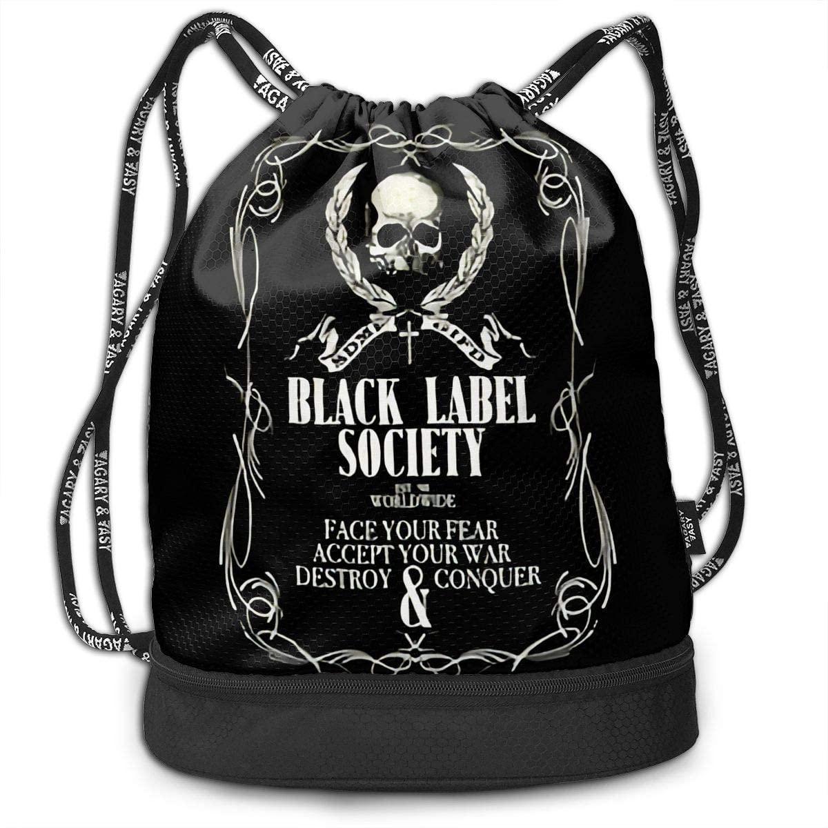 Black Label Society Drawstring Bag Gym Lightweight Bundle Backpack For Men Women Kids School Gym Travel