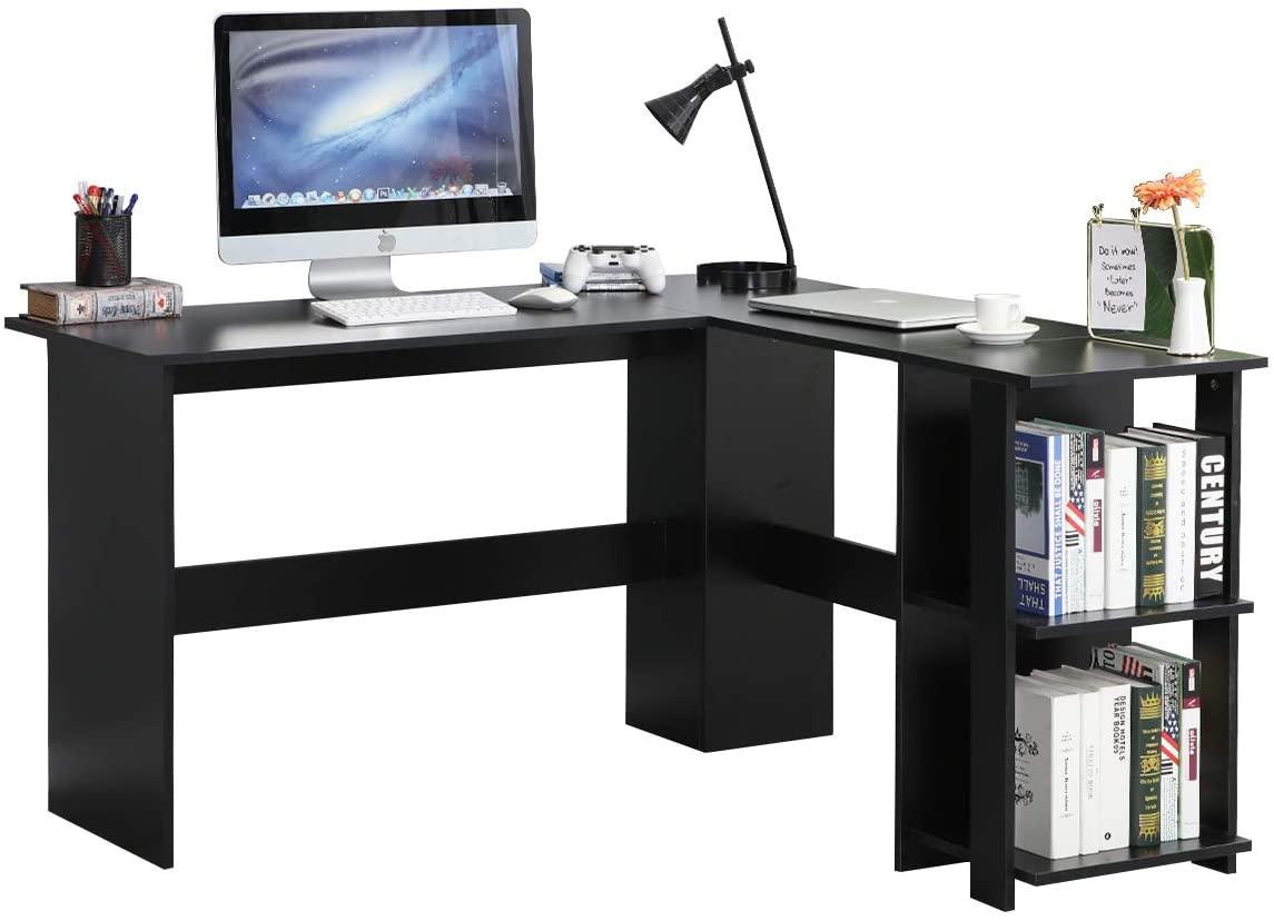 DlandHome L-Shaped Desk with 2 Shelves, 51.2 inches Home Office Computer Desk Table Corner Desk Computer Workstations Black XTD-SC01-BK
