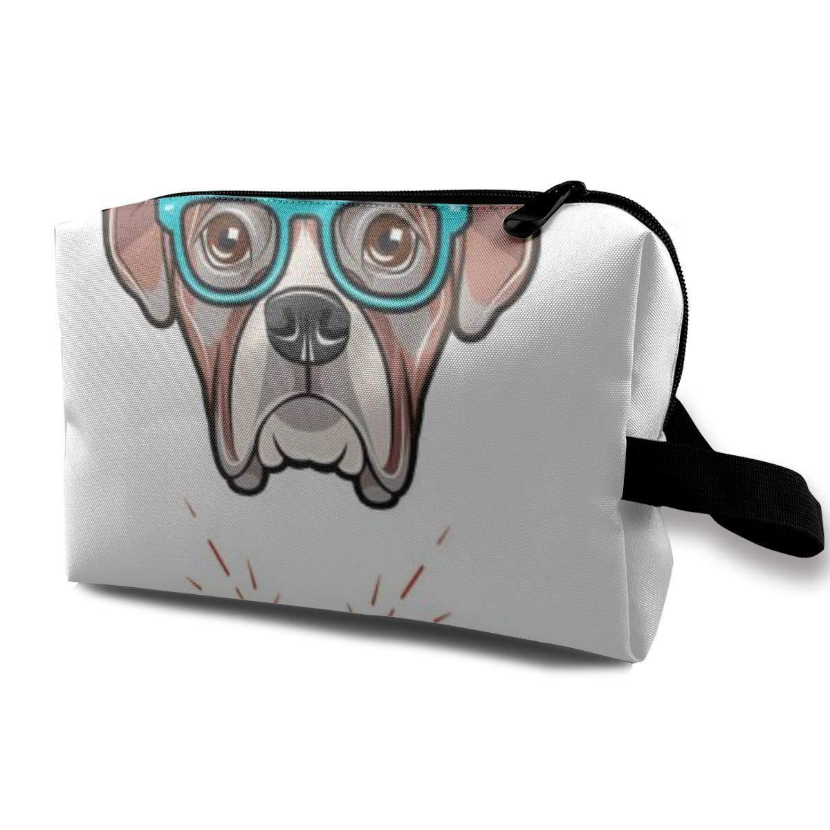Makeup Bag Cosmetic Pouch Boxer Dog Wearing Glasses Multi-Functional Bag Travel Kit Storage Bag