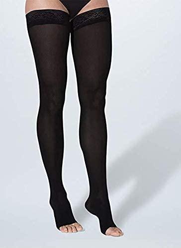 SIGVARIS Women's SOFT OPAQUE 840 Open Toe Thigh High w/Grip-Top 20-30mmHg