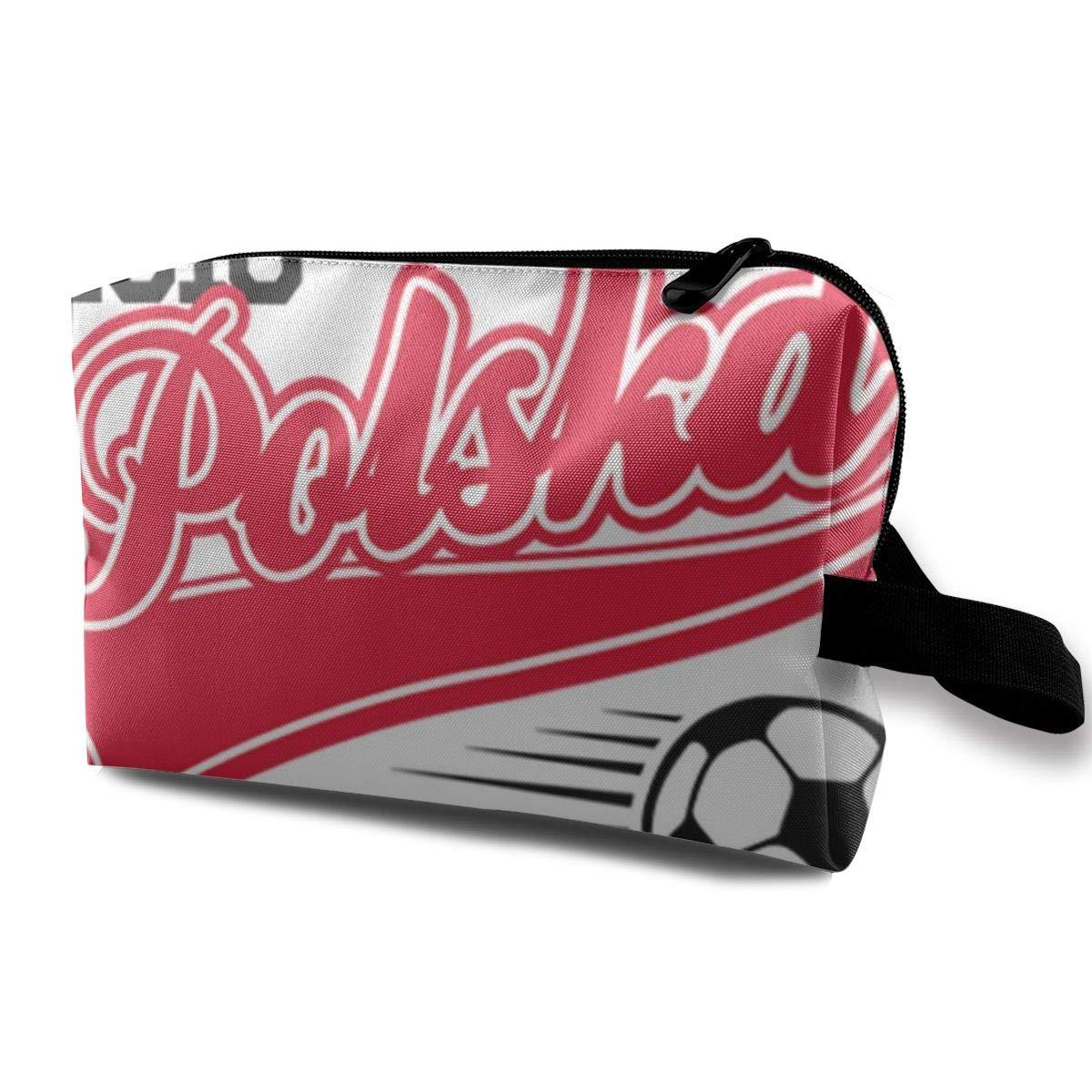 Makeup Bag Cosmetic Pouch Euro 2016 Football Poland Polska Baseball White Multi-Functional Bag Travel Kit Storage Bag