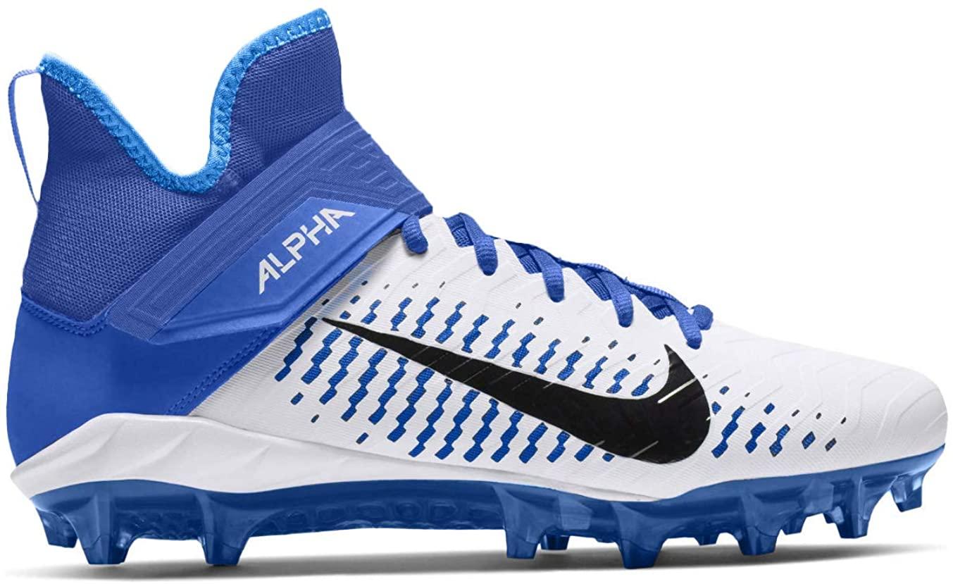 Nike Men's Alpha Menace Pro 2 Mid Football Cleat White/Black/Game Royal Size 11.5 M US