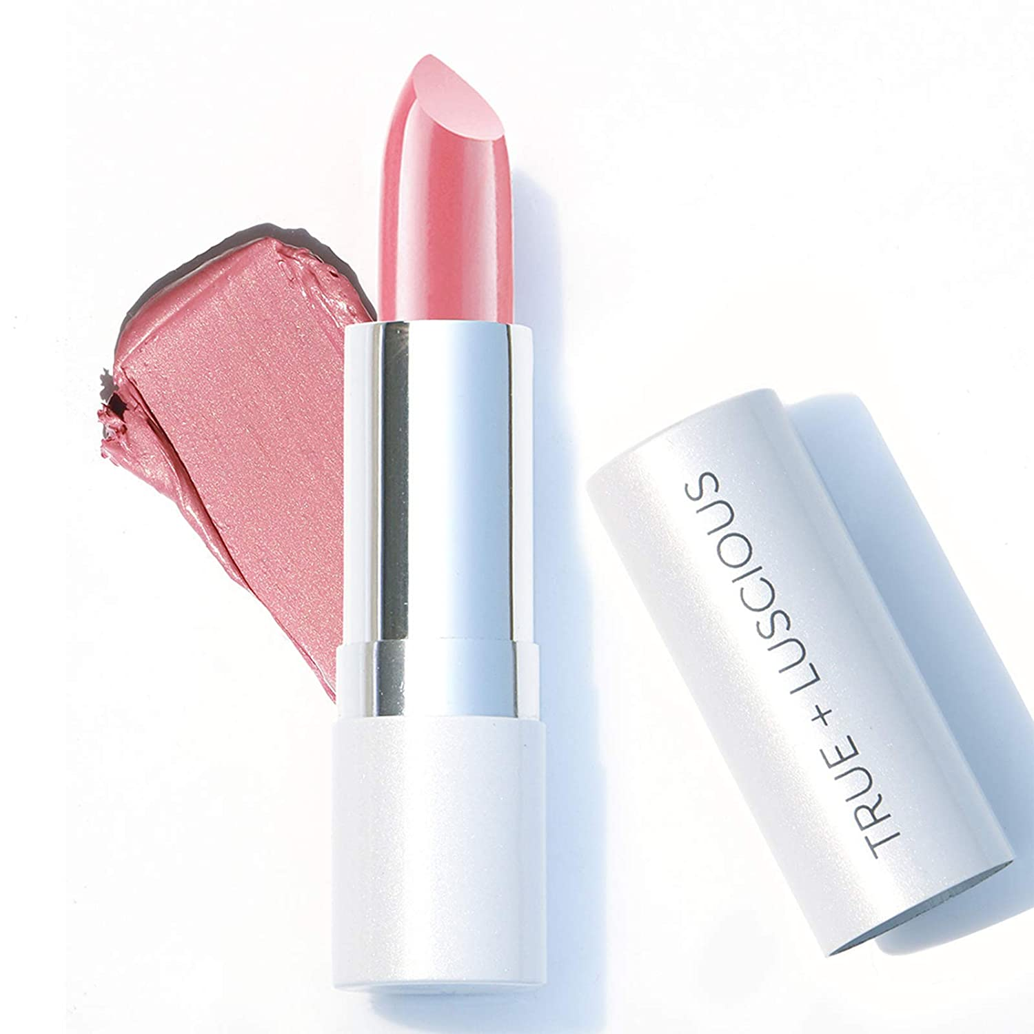 Super Moisture Lipstick by True + Luscious - Clean Formula, Smooth and Hydrating - Vegan and Cruelty Free Lipstick, Non Toxic and Lead Free Shade: Pink Sugar - 0.12 oz