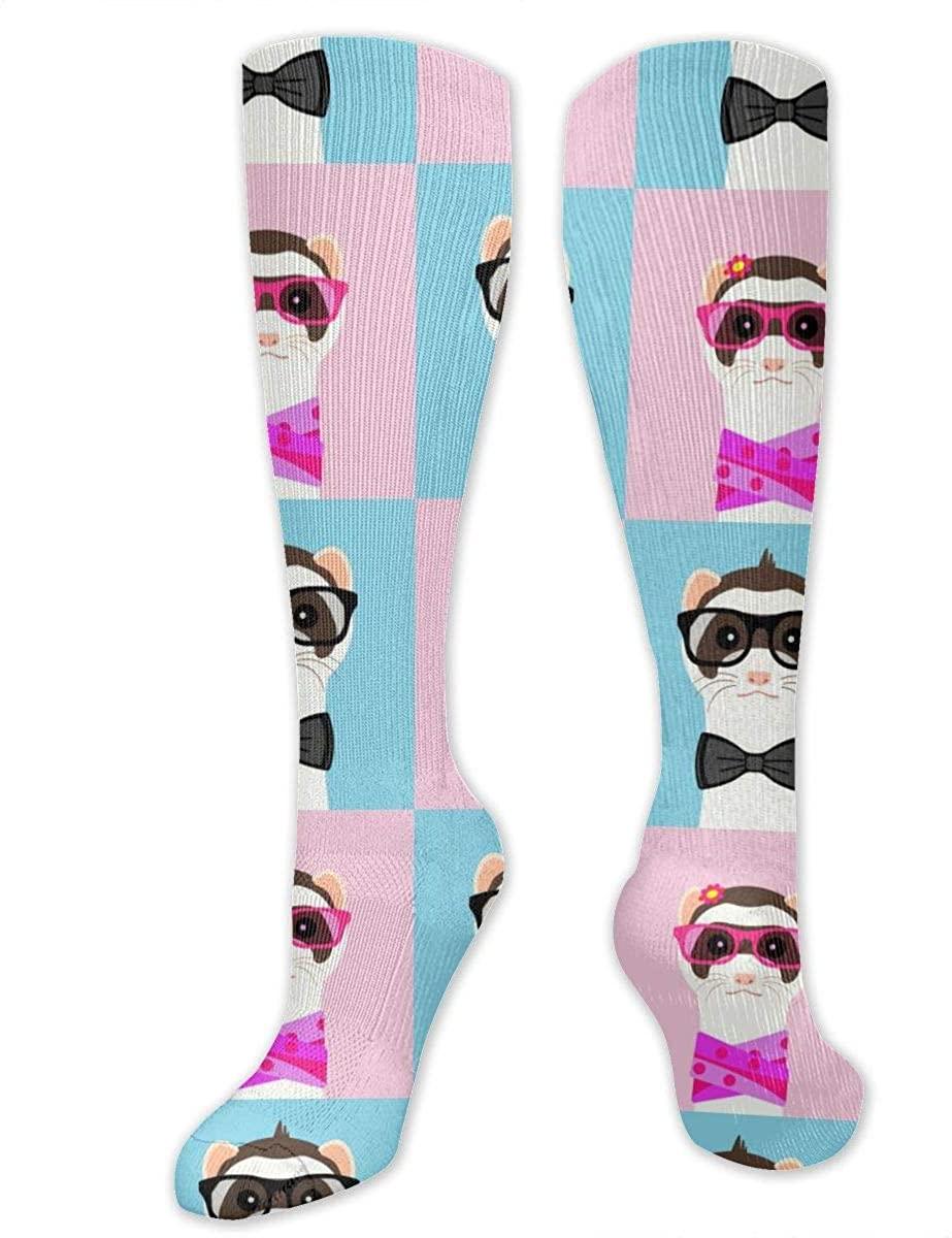 Ferret Girl And Boy Portrait Athletic Socks Thigh Stockings Over Knee Leg High Socks
