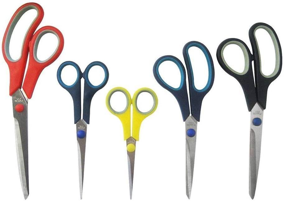 Katzco Stainless Steel Multi-Purpose Scissors Set - 5 Pieces Comfort Grip Scissors, For Fabric, Leather, Canvas, Vinyl, Paper, Clothes, Shoes, Kitchen, Arts and Crafts, School Supplies