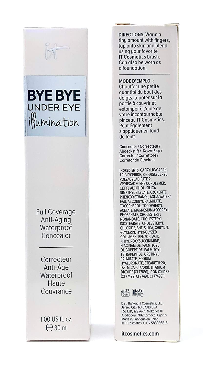 it Cosmetics Bye Bye Under Eye Illumination Full Coverage Anti-Aging Concealer, Warm Deep (Deep Rich), 1 Ounce Supersize