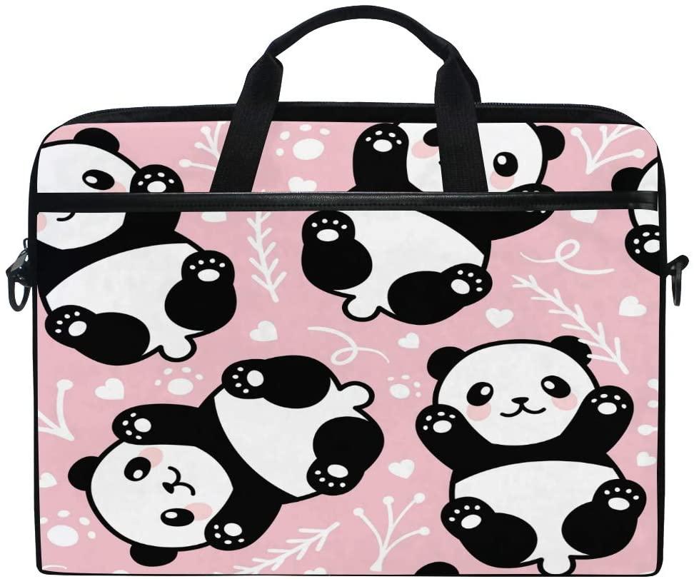ALAZA Cute Cartoon Panda Bear Animal 15 inch Laptop Case Shoulder Bag Crossbody Briefcase for Women Men Girls Boys with Shoulder Strap Handle, Back to School Gifts