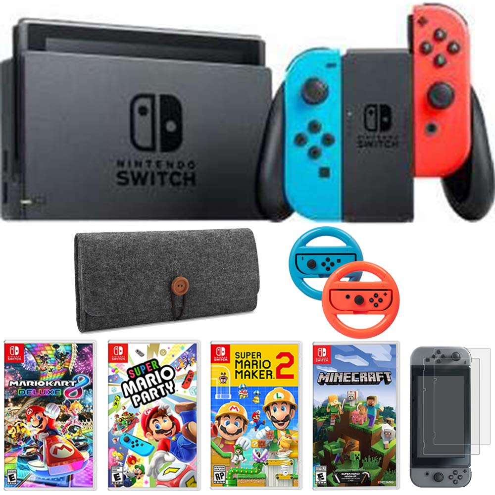 Nintendo Switch 32 GB Console with Neon Blue and Red Joy-Con (HACSKABAA) + Mario Kart 8 Deluxe, Mario Party, Mario Maker 2, Switch Minecraft, Screen Protector 2 Pack, Steering 2 Pack & Sleeve