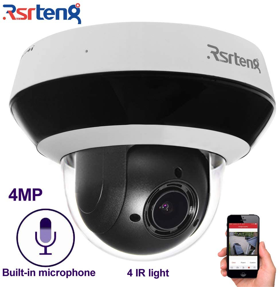 Rsrteng 4MP 4X Optical Zoom Network PTZ Camera IP Dome Camera 2.8-12mm POE P2P Mobile APP Audio Built-in Microphone IR Day/Night Outdoor IP66 IK10 TF Slot Pan/Tilt RST-KP404-E (DS-2DE2A404IW-DE3)