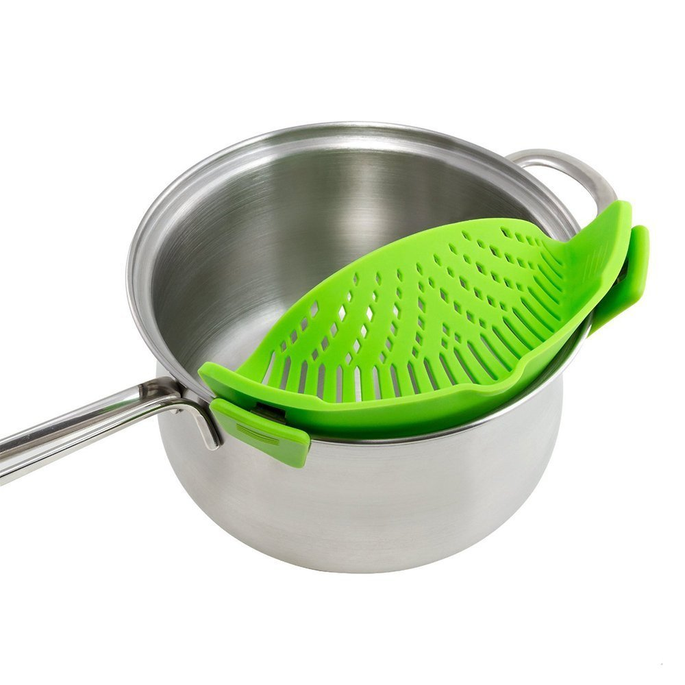 New Kitchen Extras Silicone Clip-On Snap and Strainer Clip Colander Kitchen Dining Bar Clearance Sales