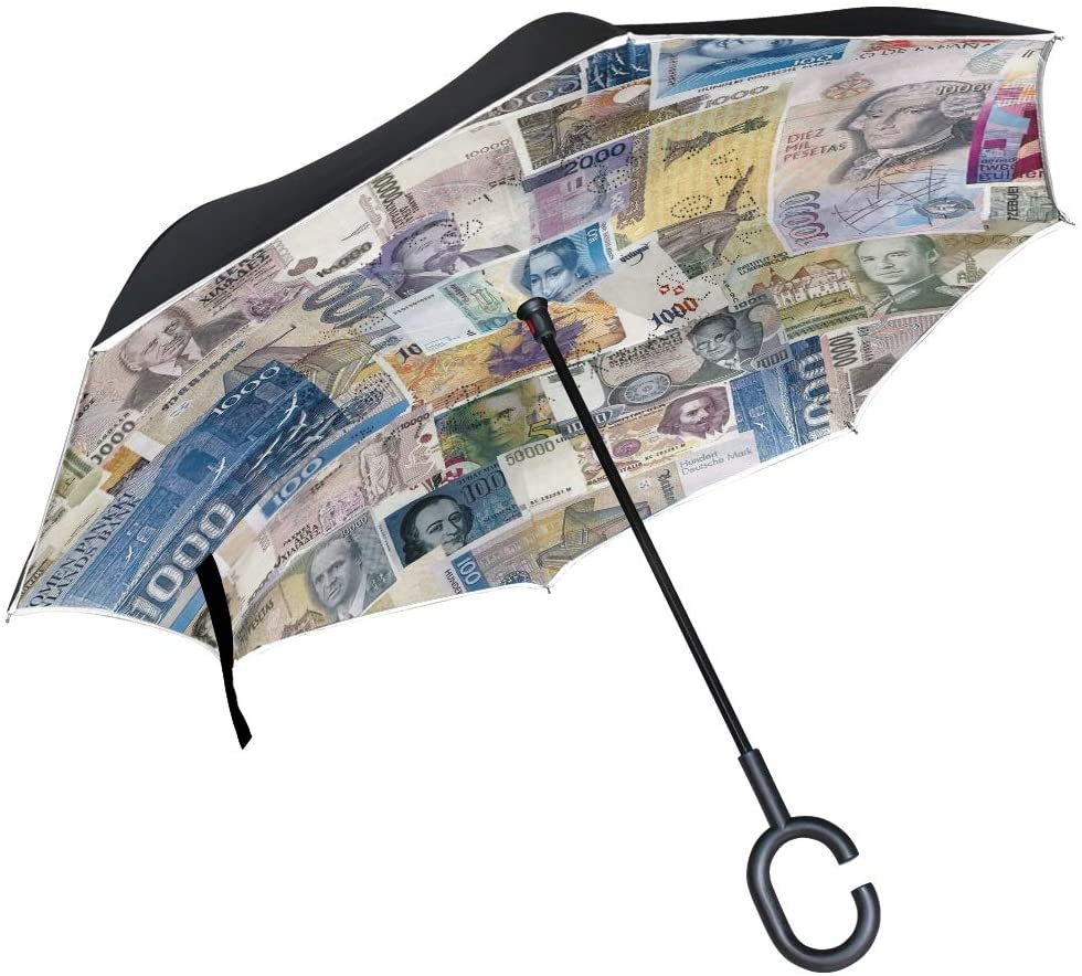 Vipsk Umbrella Reverse Umbrella Dollar Bills Creative Cars Umbrella Double Layer Inverted Umbrella Windproof Straight Waterproof Inside Out Travel Umbrellas