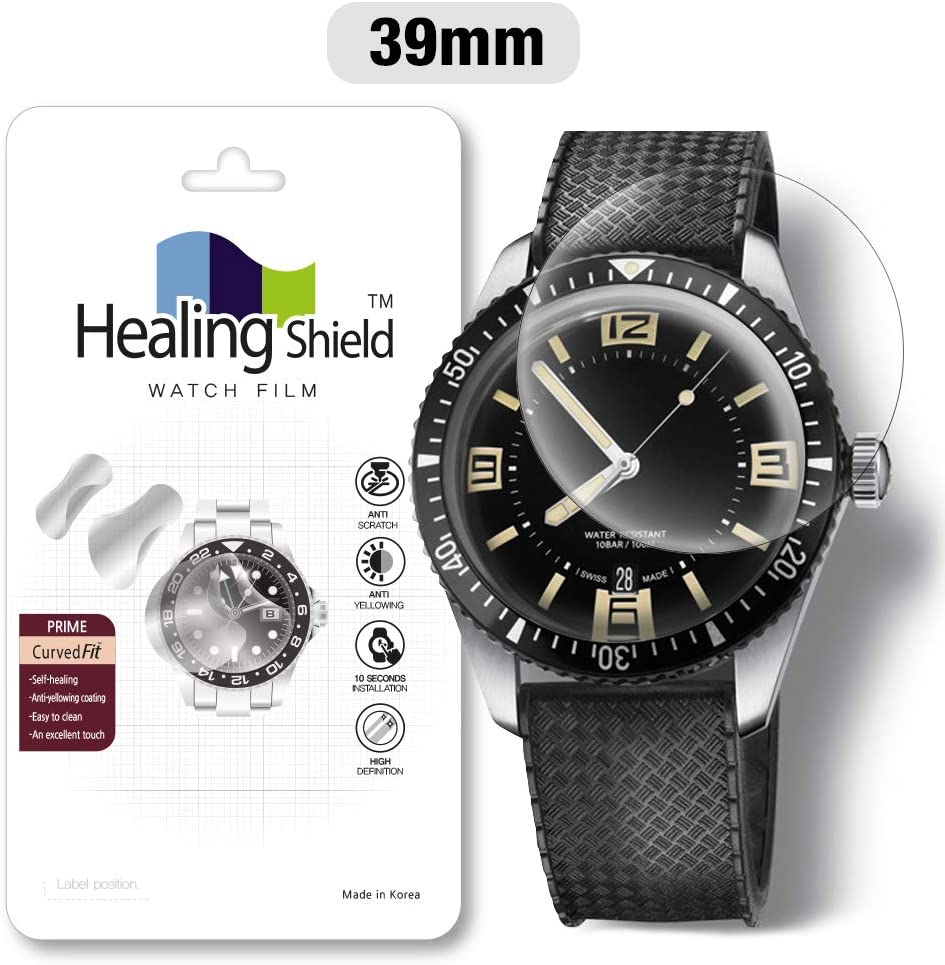 Smartwatch Screen Protector Film 39mm for Healing Shield Prime Curved Flat Wrist Watch Analog Watch Glass Screen Protection Film (39mm) [3PACK]