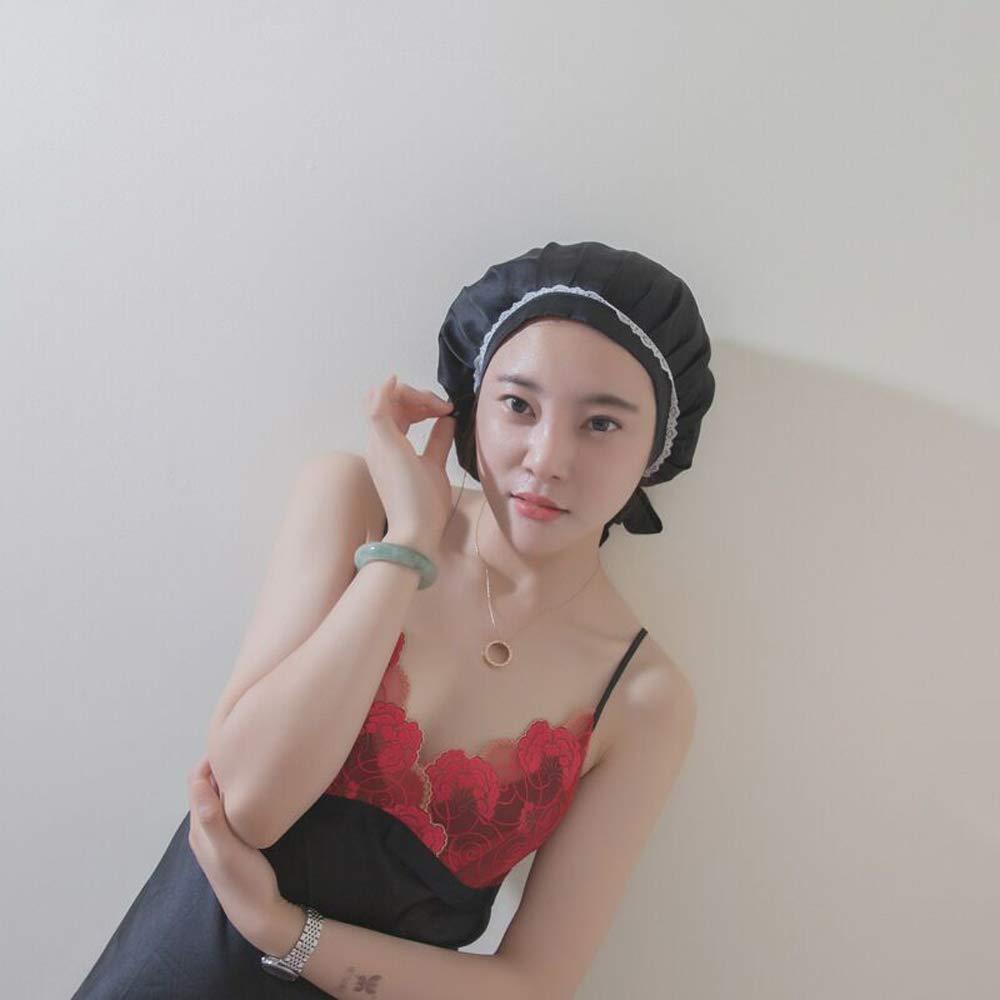 SUPERLIKE 100 Percent Silk Sleeping Cap for Women Night Cap Pure Mulberry Silk Traceless Adjustable Hat Black Color