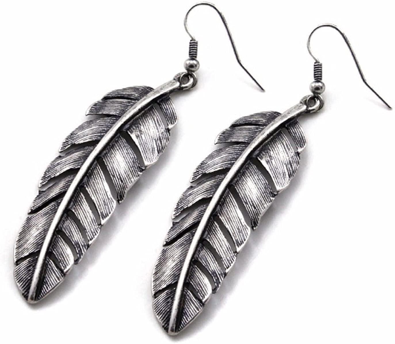 Earrings -Silver Feathers Western Native Tribal