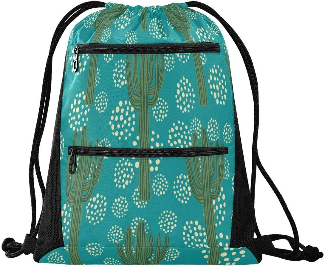 Drawstring Backpack Sport Gym Sackpack - Tropical Green Plants Cactus Drawstring Bag with Zipper Pocket Gym Bag Sackpack Sport Backpack for Hiking