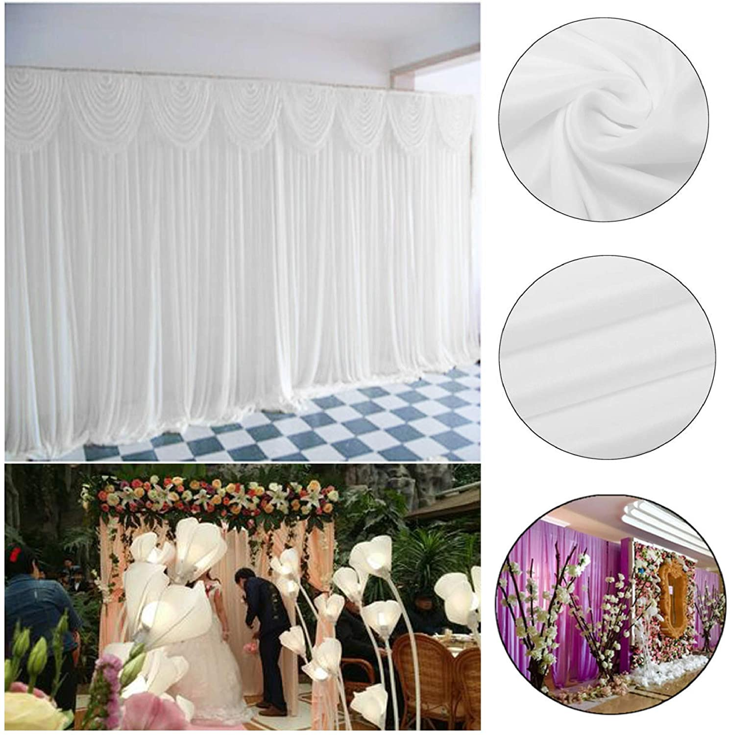Door Curtain, 2M X 2M White Stage Background Backdrop Drape Curtain Swags Wedding Party US COD