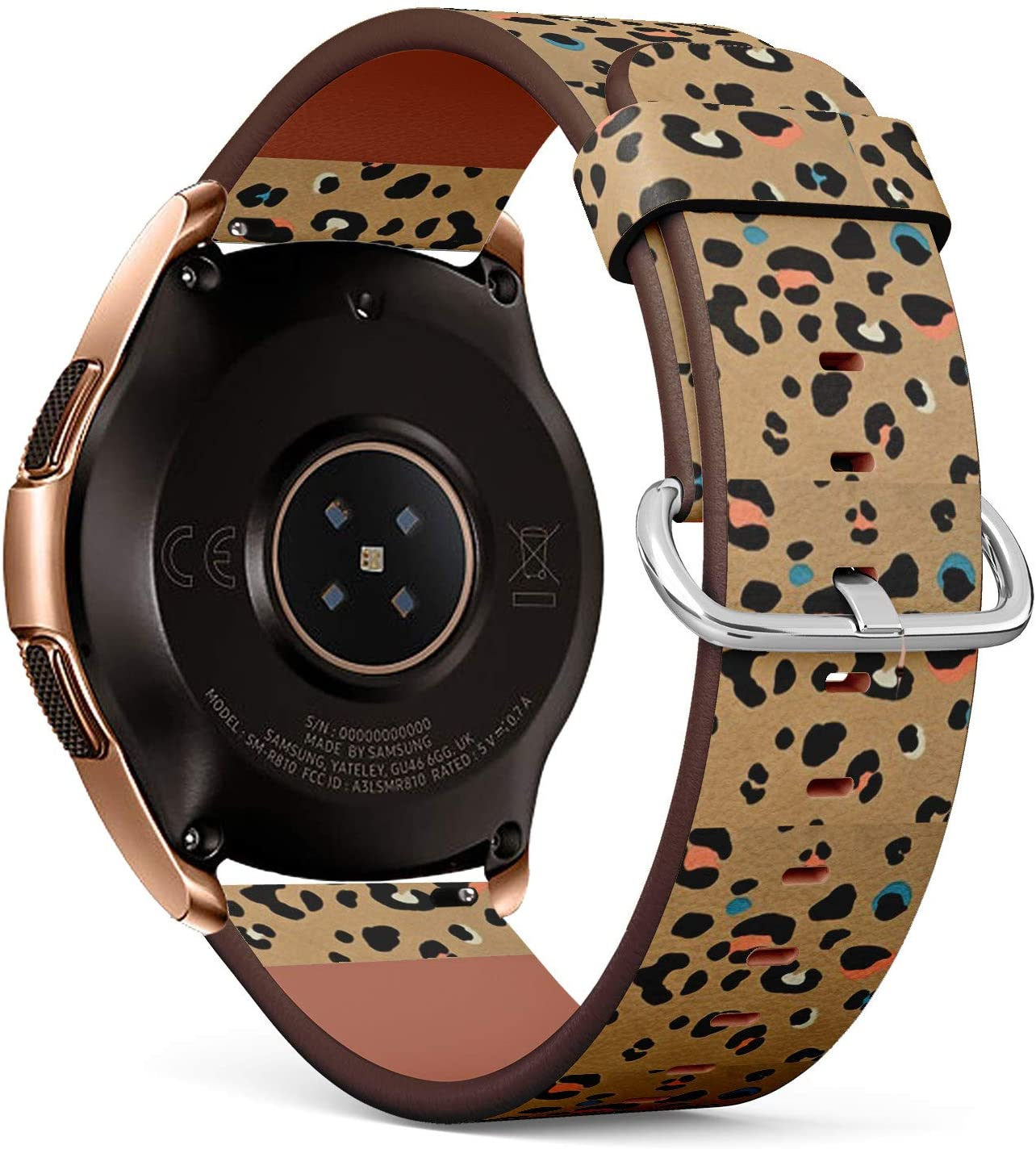 Compatible with Samsung Galaxy Watch (42mm) - Quick-Release Leather Band Bracelet Strap Wristband Replacement - Brown Leopard Fur Colorful