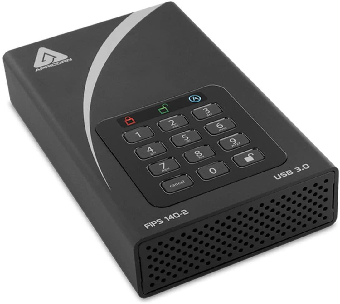 Apricorn Aegis Padlock 12 TB FIPS 140-2 Validated 256-Bit Encrypted Hard Drive (ADT-3PL256F-12TB)