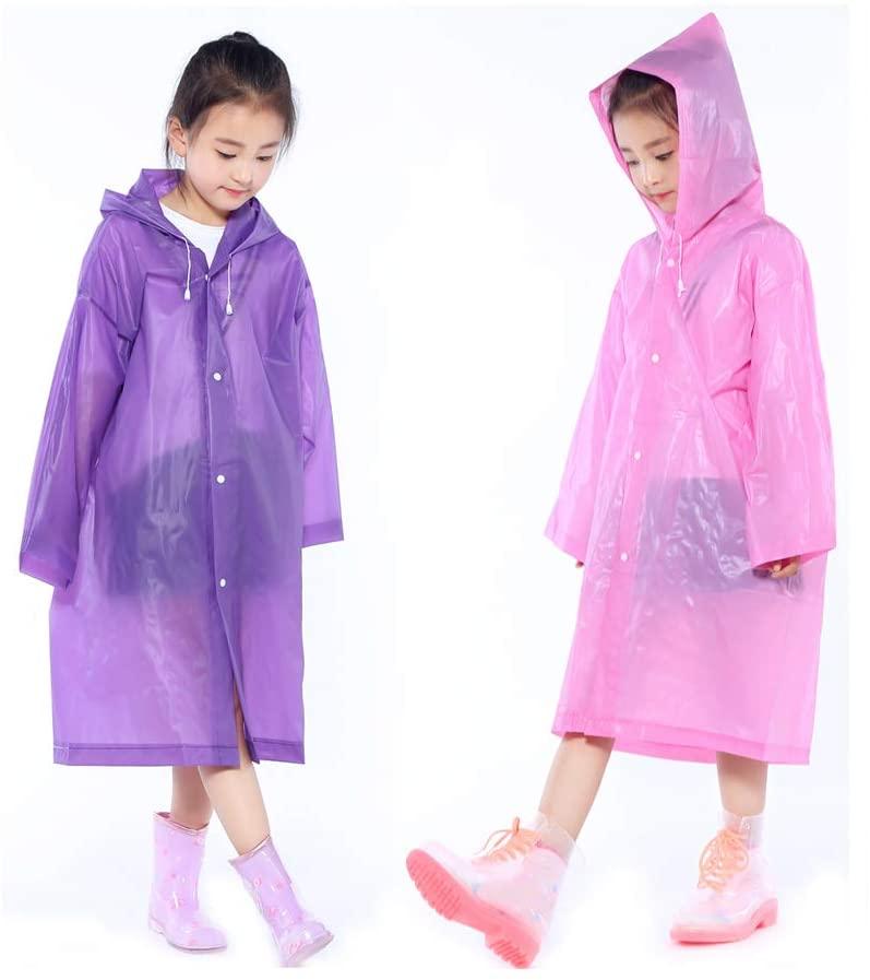 2 Packs Kids Rain Ponchos, Portable Reusable Emergency Raincoat for 6-12 Years Old Boys Girls, Children Rain Wear for Outdoor Activities - Purple&Pink