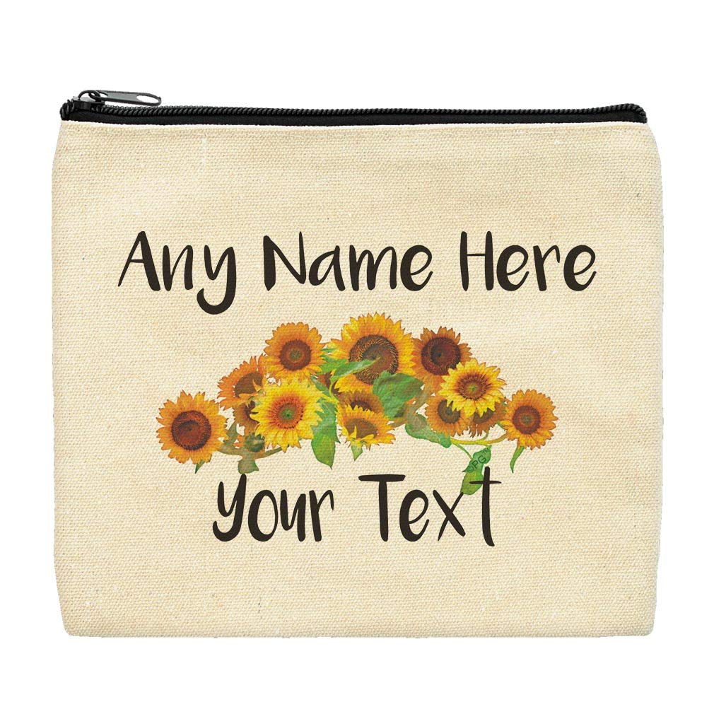 Custom Gifts for Women Your Text Sunflower Bag Floral Canvas Makeup Bag Personalized Makeup Bag