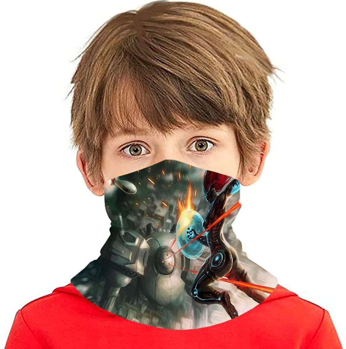 Anime Sci-Fi Robot Battle Battleship War Children's Face Scarf Windproof Protection Balaclava, Multifunctional Headwear Neck Gaiter for Kids Teens, Dust Sun Uv Black