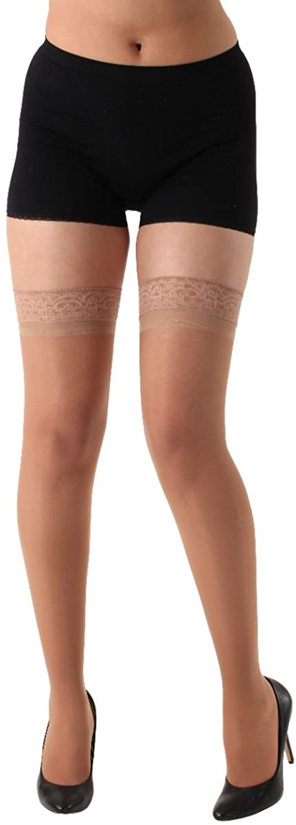 Made in The USA - Sheer Compression Stockings 15-20mmHg - ABSOLUTE SUPPORT Thigh High Lace Silicone Border– Beige, Medium A102BE2