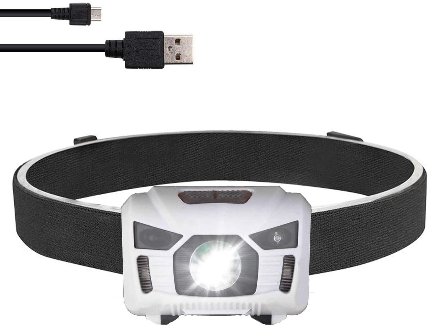 LED Motion Sensor Headlamp Flashlight,USB Rechargeable Headlight for Kids,Adults Camping, Running, Hiking, Sports, Outdoor Head Lamp, IPX4 Waterproof Headlight, 5 Light Modes & Adjustable Headband