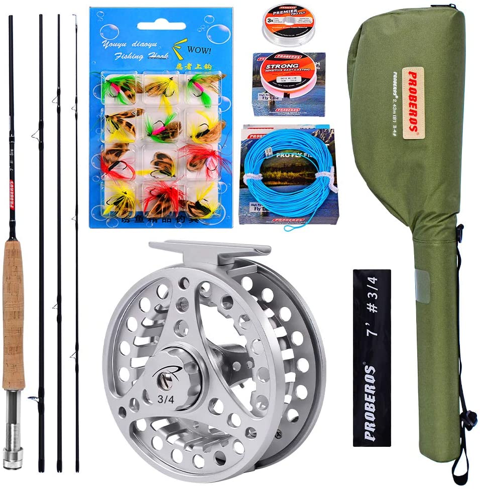 PROBEROS Fly Fishing Rod and Reel Combo - 4 Piece Fly Rod Full Kit Outfit Fly Reel Backing Fly/Braided/Leader Line Flies and Travel Package