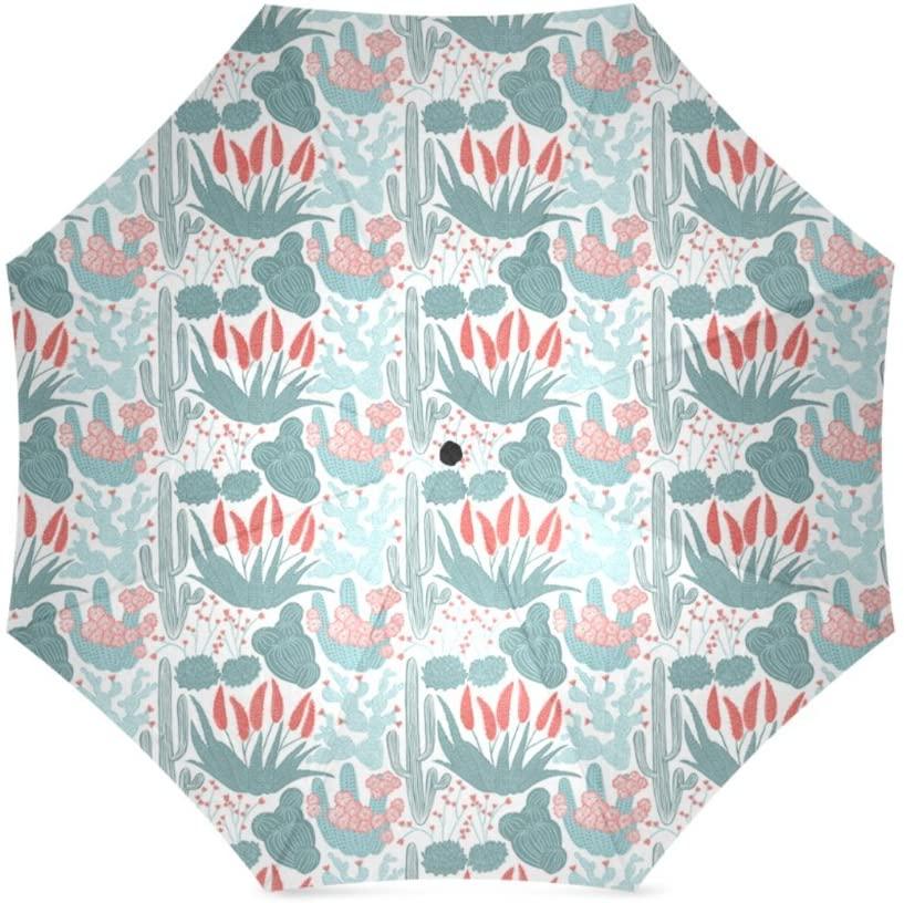 Artsbaba Umbrella Cactus Rain Umbrella Windproof Compact Travel Umbrella UV Protection Foldable