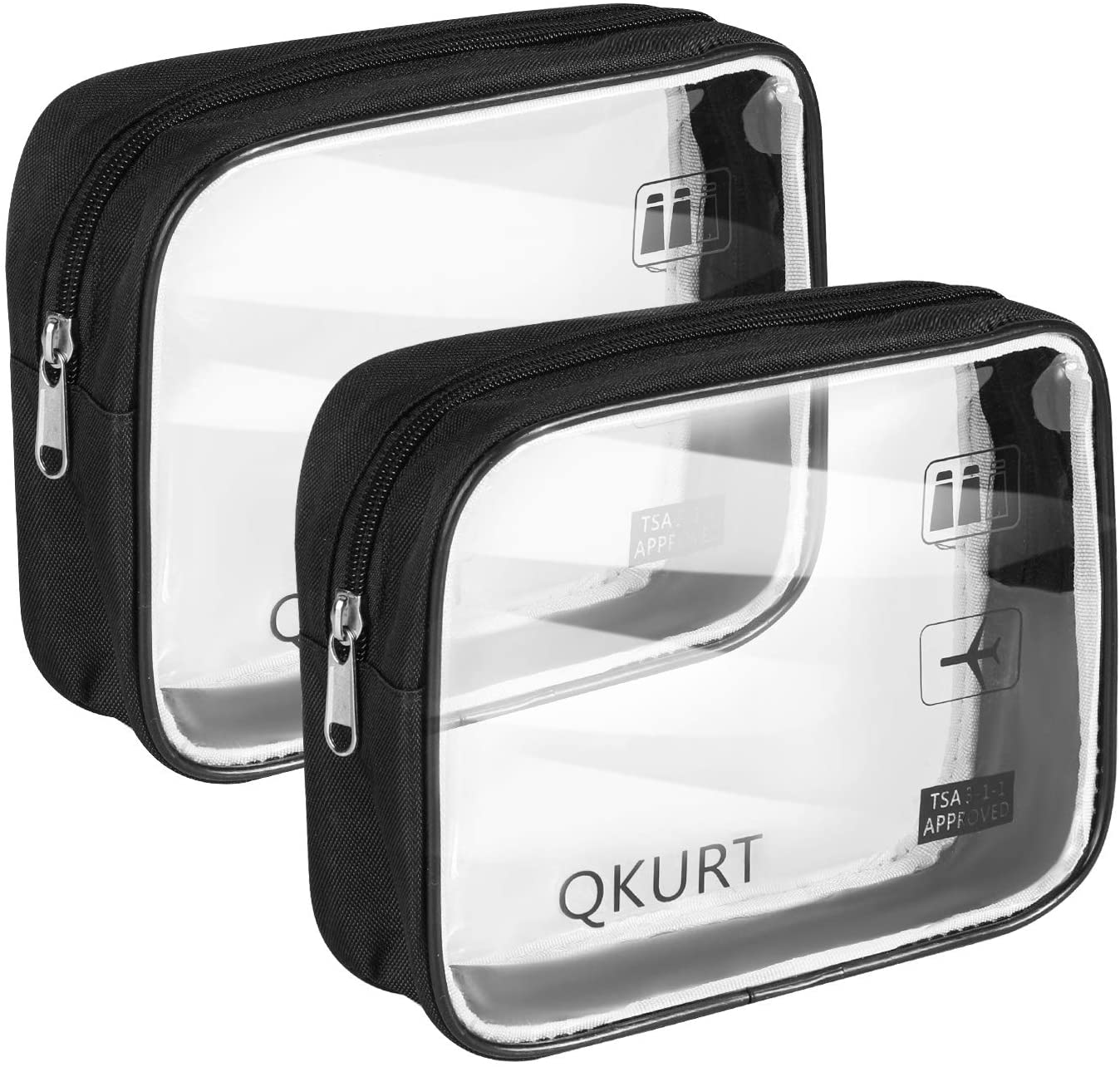 QKURT 2pcs/Pack Transparent Waterproof Toiletry Bag Travel Luggage Pouch, Portable PVC Clear Cosmetic Makeup Bag Pouch for Bathroom, Excursion| Practical Transparent Makeup Bags