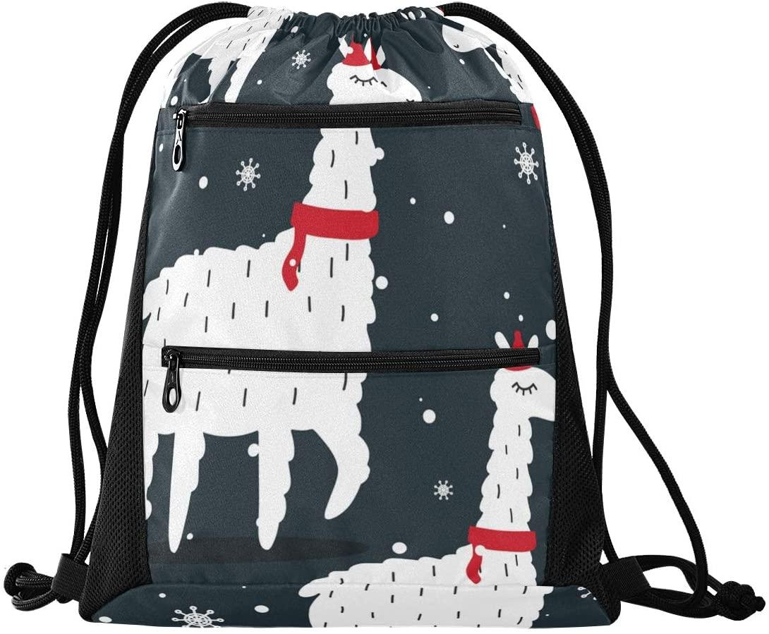 Drawstring Bag Christmas Cute Llama Lightweight Drawstring Backpacks for Beach Swimming Yoga Gym Travel with Zipper Mesh Pockets