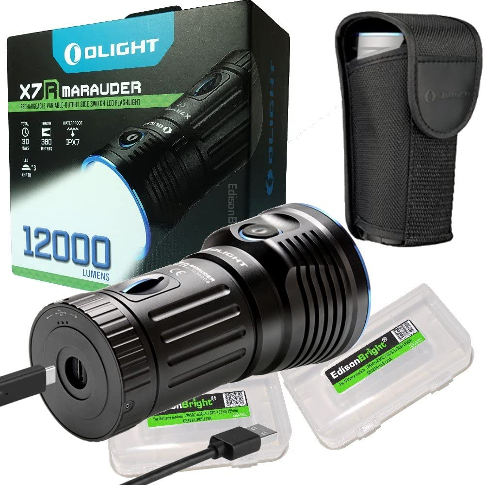Olight X7R Marauder USB TYPE-C rechargeable 12,000 Lumen LED flashlight/searchlight, 4 X 18650 rechargeable Olight batteries and 2 X EdisonBright brand battery cases bundle