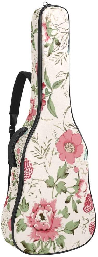 Watercolor Flowers Adjustable Shoulder Strap Electric Guitar Case