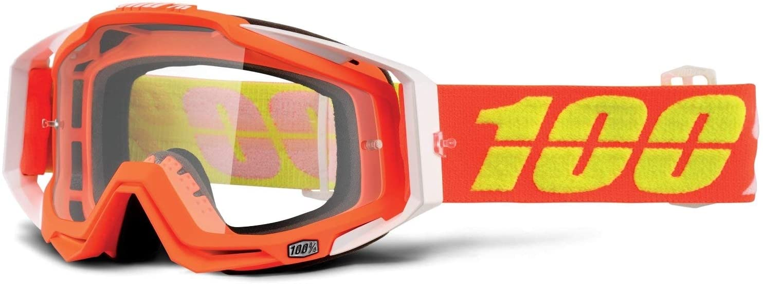 100% 50100-192-02 Unisex-Adult Red/Yellow Razmataz Racecraft MX Motocross Goggles With Clear Lens (Red/Light Blue,One Size Fits Most)
