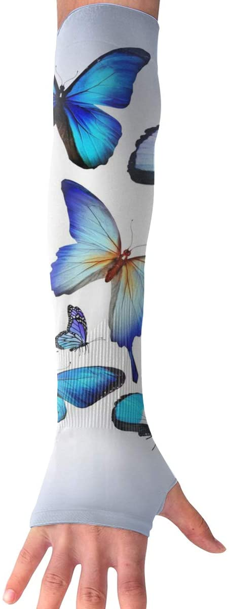 Sports Arm Sleeves Blue Butterfly UV Sun Protection Arm Sleeves with Thumb Holes Cooling Arm