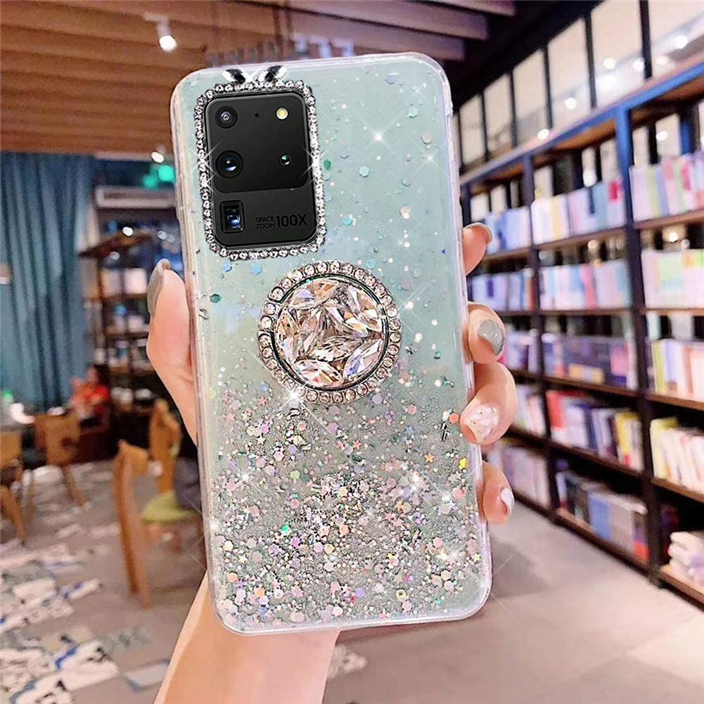 PHEZEN Galaxy S20 Ultra Case Bling Glitter Clear Sparkle Case for Women Girls,Shiny Star Slim Soft Silicone Gel TPU Rubber Bumper Phone Case Cover with Ring Kickstand for Samsung S20 Ultra,Green