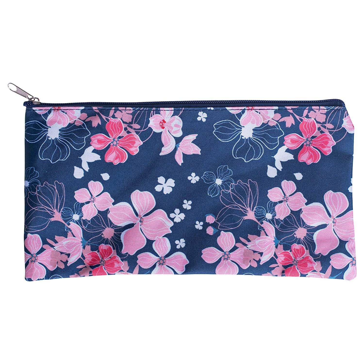 Pencil Case Zippered Navy Pink Flower 10 x 6 Microfiber Fabric Cosmetic Bag