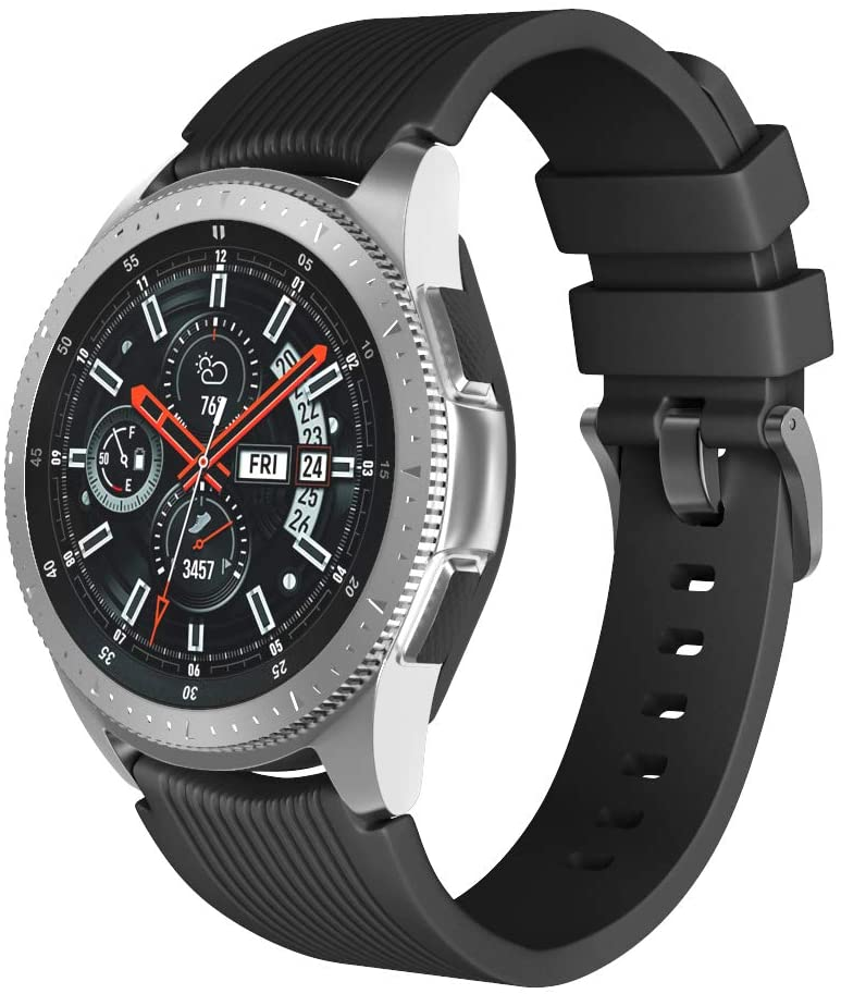 ANCOOL Compatible with Gear S3 Bands Soft Silicone Watch Bands Replacement for Galaxy Watch 46mm/Gear S3 Smartwatches (Small, Black)
