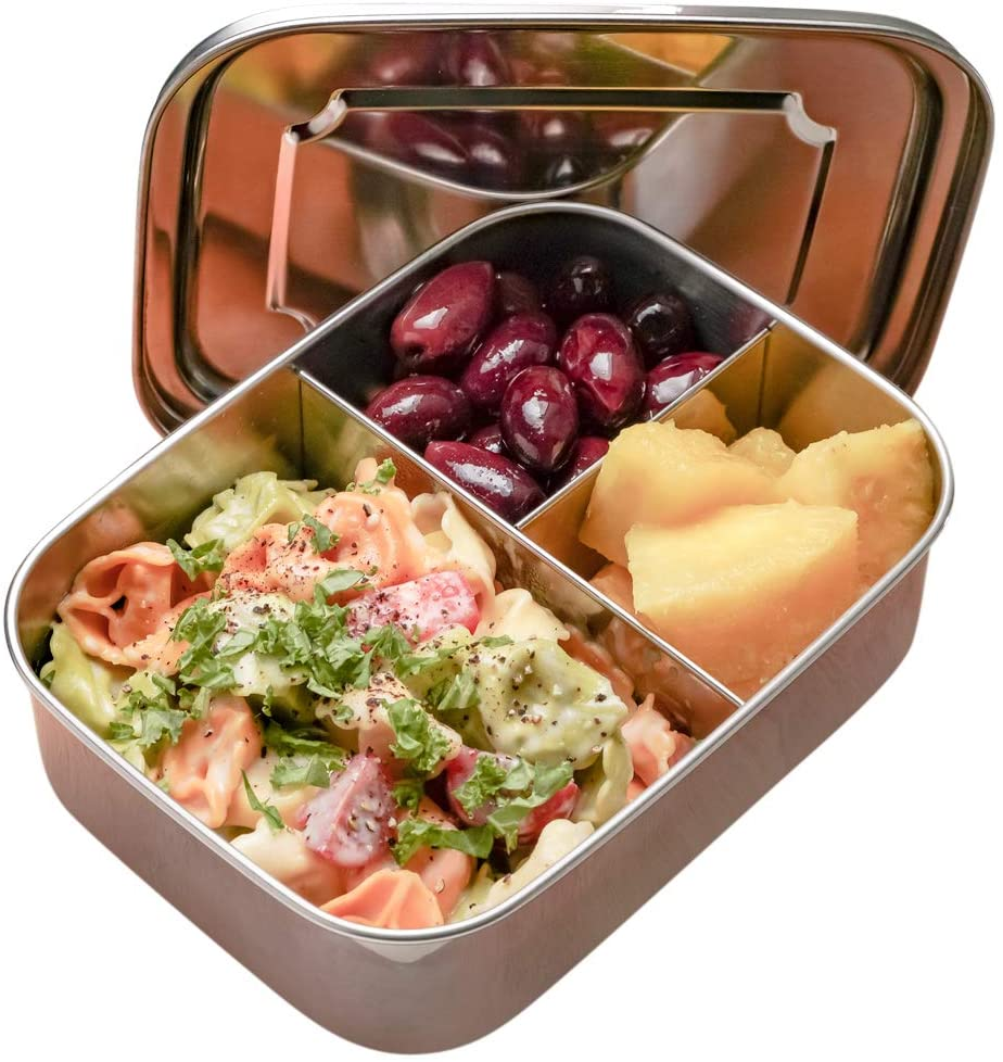 RiViLife Stainless Steel Bento Lunch Box for Kids and Adults PLUS Spoon - BPA-Free 3 Section Divided Metal Lunch Box fits 1 Main + 2 Snacks
