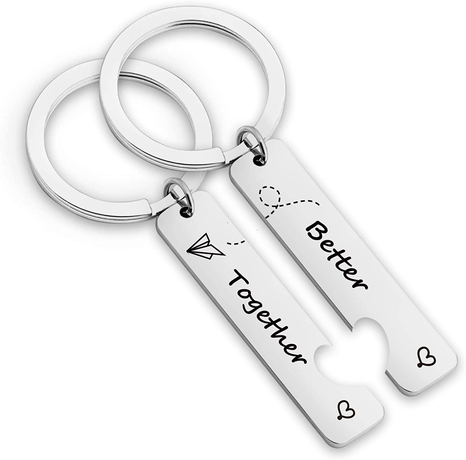 EIGSO Relationship Keychain Better Together Long Distance Matching Heart Keychain for Distant Couples